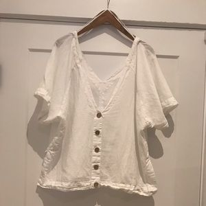 Free People linen top w/ coconut buttons